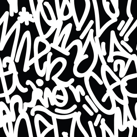 rebellious: tags seamless pattern. Fashion graffiti  drawing texture, street art retro style, abstract, vintage design for t-shirt, textile, wrapping paper in black, white