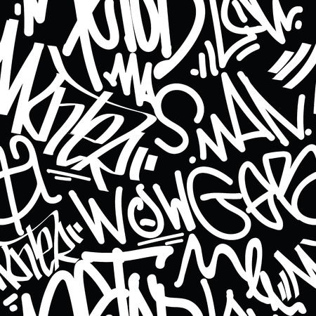 tags seamless pattern. Fashion graffiti drawing texture, street art retro style, abstract, vintage design for t-shirt, textile, wrapping paper in black, white Stock Illustratie