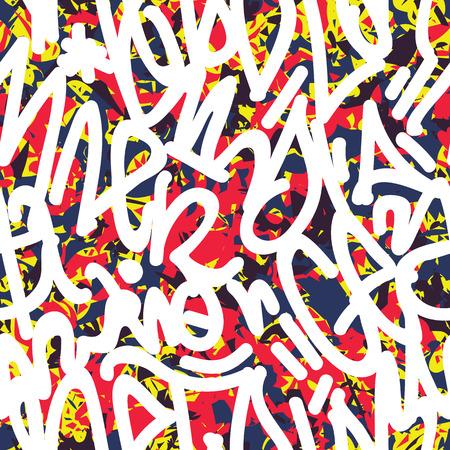 tags seamless pattern. Fashion graffiti drawing texture, street art retro style 矢量图像