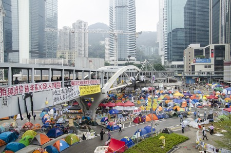 occupy movement: Hong Kong, China - November 07, 2014: Protest action with tent city Editorial