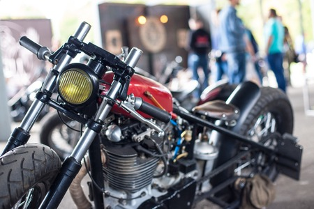 chrome man: custom motorcycle Stock Photo