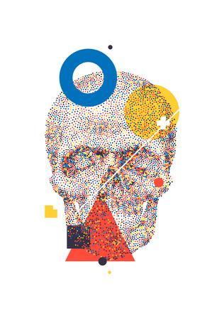 vj: Artistic decorative geometric background with colorful skull for print T-shirt DJ VJ electronic light show Illustration