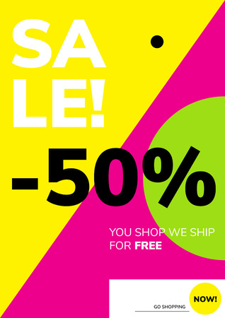 Minimal geometric poster tamplate in flat scandinavian graphic design style Illustration