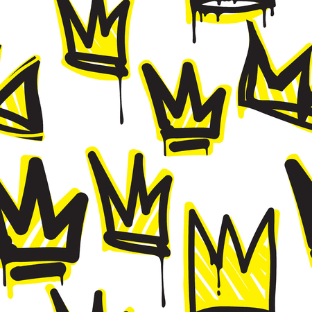 Fashionable royalty crowns graffiti hand drawing design texture in hip hop street art style for t-shirt, skateboard textile. Illustration