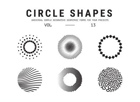 mathematics: Universal circle shapes set Illustration