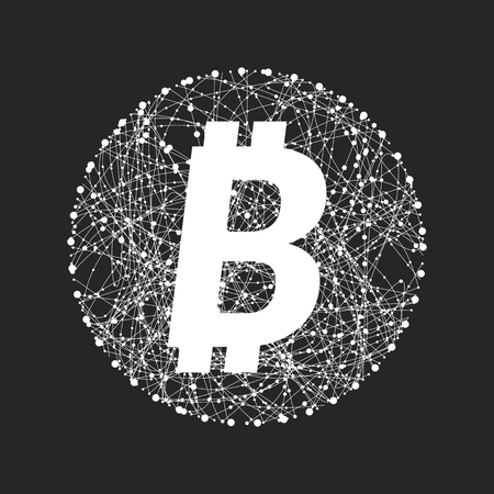 Vector symbol of bitcoin technology. Virtual money, Digital currency. Abstract illustration. Blockchain transfers concept.