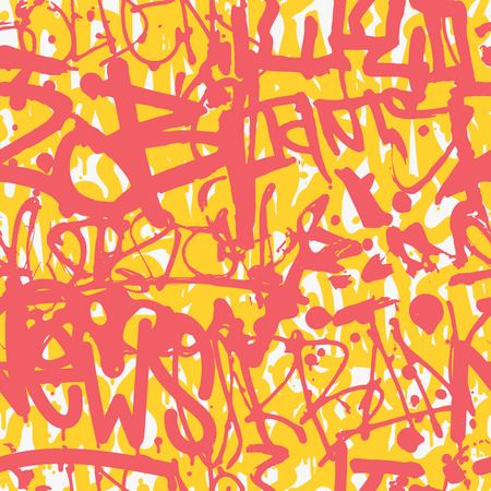 Graffiti vector seamless pattern with bright colorful design.