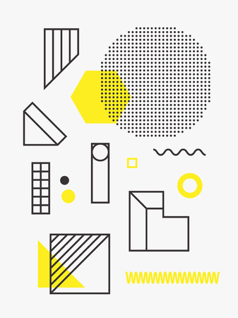 Universal trend poster. Linear geometric shapes set with halftone elements