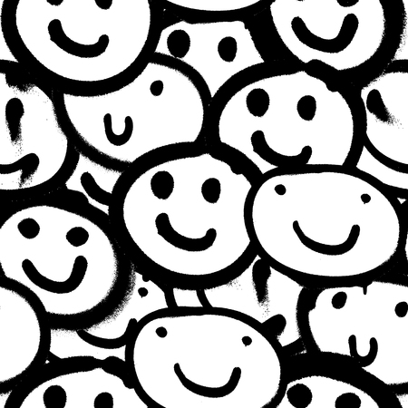 Patrones sin fisuras de vector. Papel pintado único sin fin de moda con elementos de diseño. Graffiti emoji feliz rociado en blanco y negro Ilustración de vector