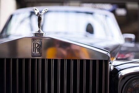 Rolls-royce logo. Close-up of front part vintage car
