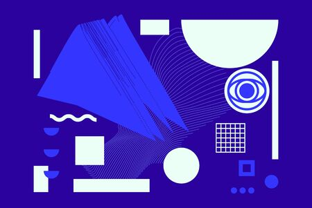 Universal Modern Geometric Shapes Set. Chaotic composition with Vector abstract design elements for web banner, posters, backgrounds