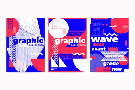 Universal modern geometric abstract posters set with shapes composition. Vector template for web banner, posters, backgrounds  イラスト・ベクター素材