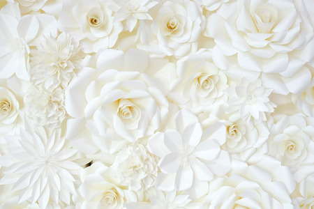 Background of paper-folding flower in white cream color