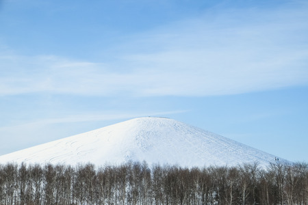 manmade: Snow covering Mt. Moere, the man-made mountain, the main attraction of Moerenuma park Stock Photo