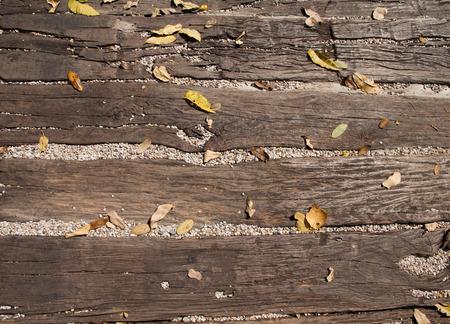 fallen leaves: Leaves fallen on wooden ground ground