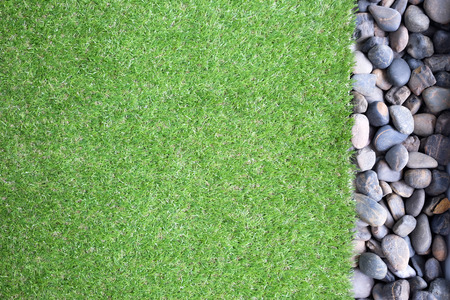 Artificial grass and pebble Stok Fotoğraf - 43250292