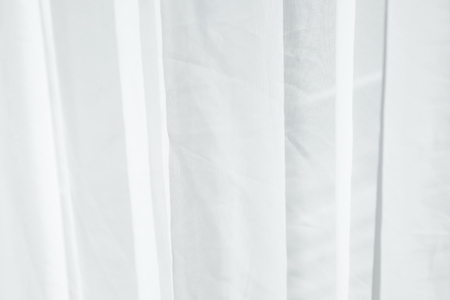 crease: White fabric curtain with little crease