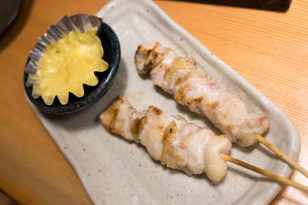 Grilled chicken stick with cheese dip Banco de Imagens