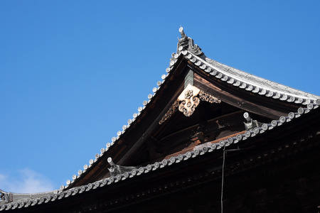 Gable of Japanese temple and clear blue sky