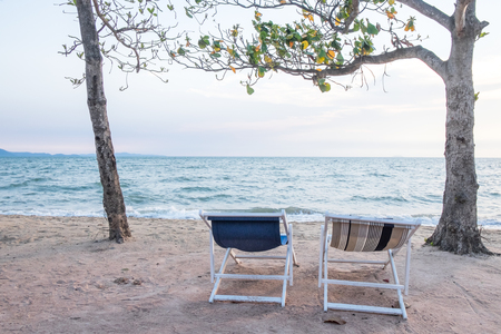 Couple beach chairs and sea view Banco de Imagens