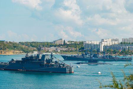 Russian warships and submarine. photo