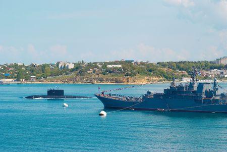 Buques de guerra y submarinos rusos. Foto de archivo - 3315601