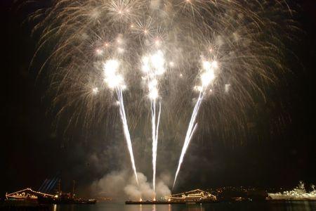 Salute, fireworks above the bay. Sevastopol. photo