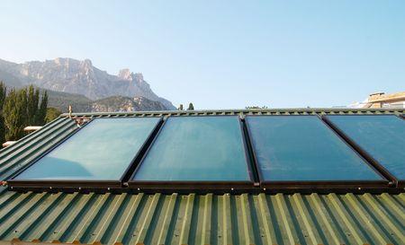 voltaic: Solar panels (geliosystem) on the  roof.