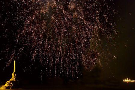 Salute, fireworks above the bay. Sevastopol, Ukraine. photo