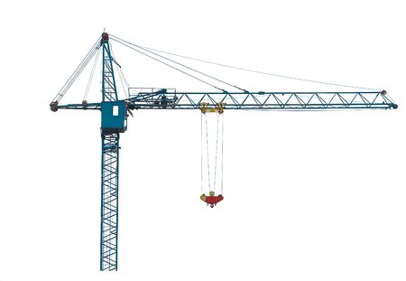 crane: Building crane isolated on white. Stock Photo