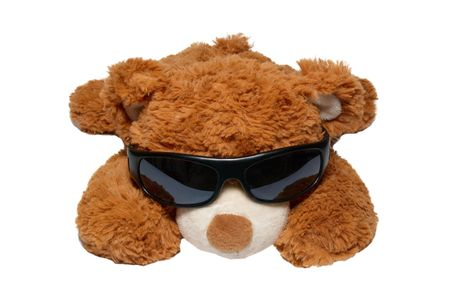 child's play clay: Brown toy bear in sunglasses isolated on white. Stock Photo