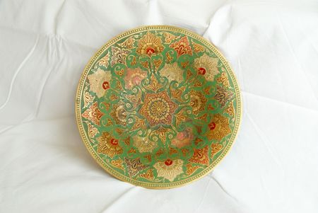 Painted metal plate. photo