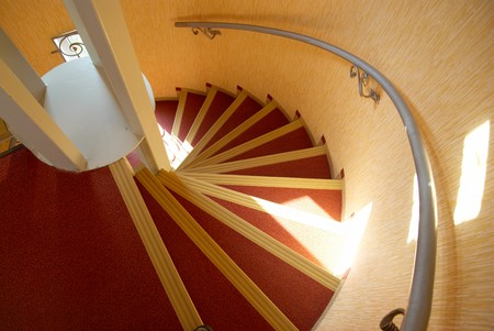 Spiral staircase in a house. photo