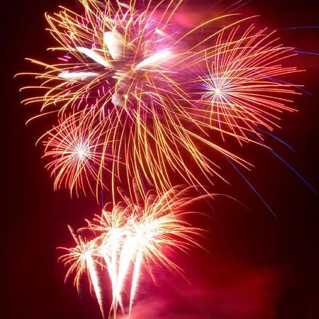salute: Salute, fireworks above the Sevastopol bay. Stock Photo