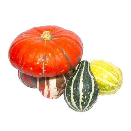 Three colored pumpkins isolated on white. photo