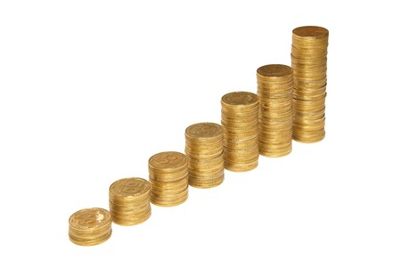 Stair to wealth of golden coins isolated on white. Stock Photo - 4259151