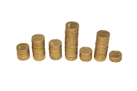 Diagram of golden coins isolated on white. photo