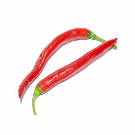 Two red hot chili peppers isolated on white photo