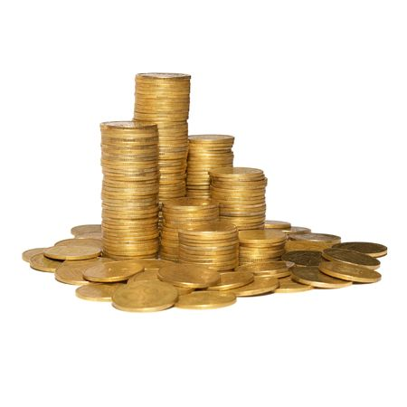 Column of golden coins isolated on white. Stock Photo - 4756927