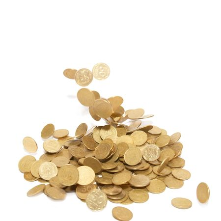 Rain of golden coins isolated on white Stock Photo