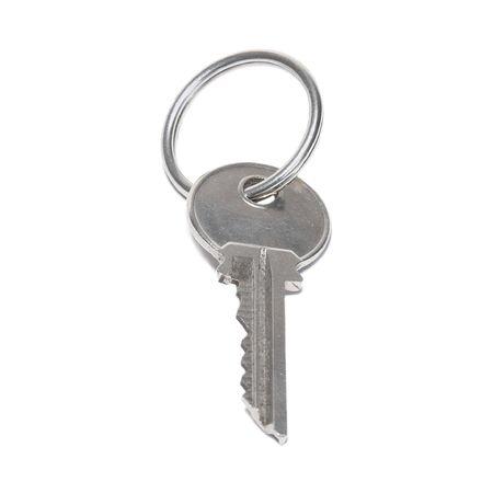One silver key isolated on white background photo