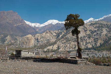 Tibetan village in Himalayan mountain with blue sky.  photo