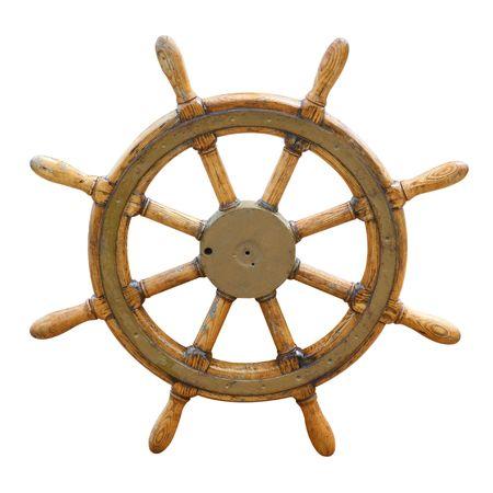 Old wooden steering wheel on the boat  Фото со стока