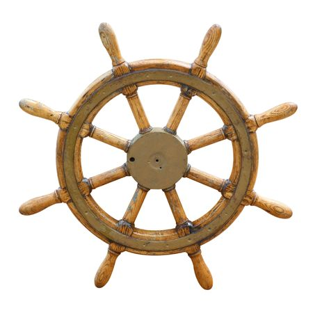 boat deck: Old wooden steering wheel on the boat  Stock Photo