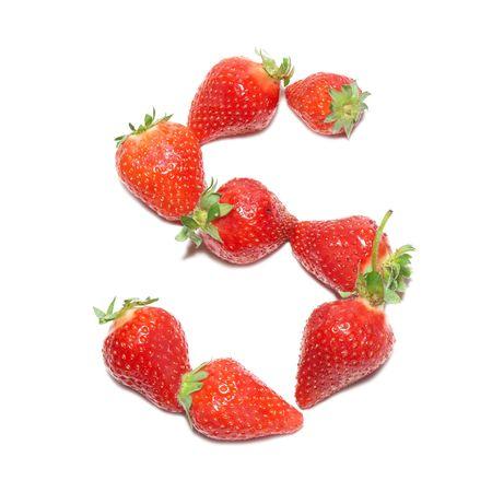 alphabet wallpaper: Strawberry health alphabet- letter S Stock Photo