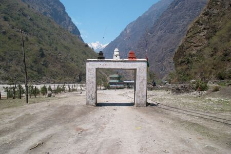 Gate to the Tibetan city. Landscape with Marsyangdi river. Stock Photo - 5282368