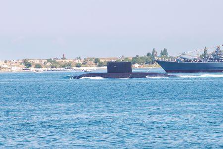 Russian submarine in the Black sea bay photo