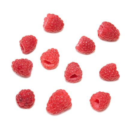 Many raspberries isolated on the white background photo