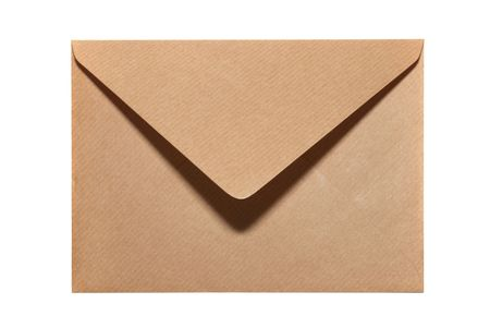 Closed paper envelope isolated on white background photo
