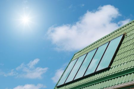 Solar water heating system on the roof. Stock Photo - 5424833